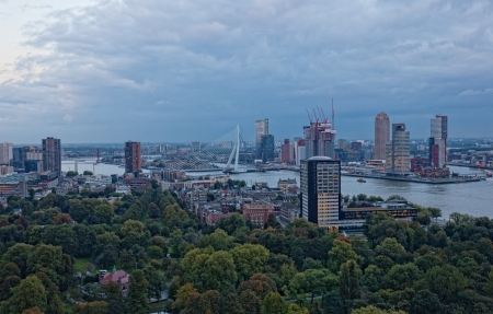 View of Rotterdam from height of birds flight at night photo