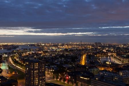 View of Rotterdam from height of bird's flight at night Stock Photo - 16034421