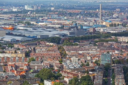 maas: View of Rotterdam from height of bird