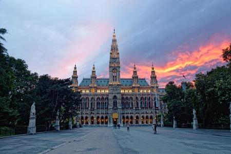 Tall gothic building of Vienna city hall, Austria  写真素材