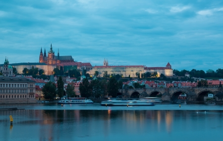 Night view of Prague - river Vltava, Gradchany, St. Vituss cathedral