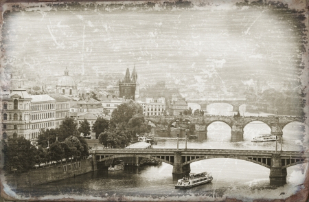 old times: Prague, view of the Vltava River and bridges