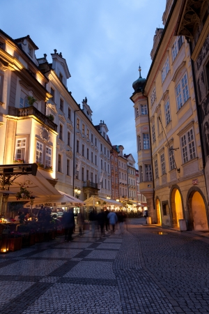 Tourists on night streets June 30, 2012, Prague,Czech Republic. Annually Prague is visited by over 3,5 mil. tourists.