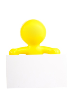 yellow little man holds a white banner with a place for the text Stock Photo - 16660480