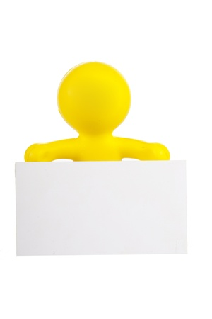 yellow little man holds a white banner with a place for the text Stock Photo - 16660489