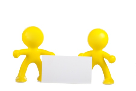 Two yellow little men hold a white banner with a place for the text Stock Photo - 16660487