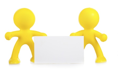 Two yellow little men hold a white banner with a place for the text Stock Photo - 16660492