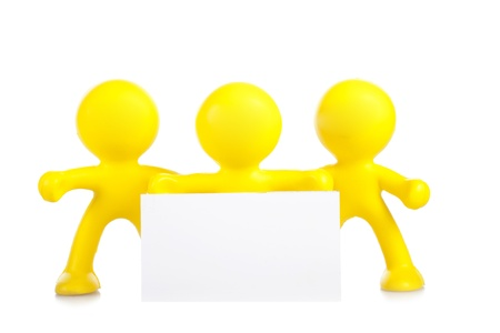 Three yellow little men hold a banner with a place for the text Stock Photo - 16660484