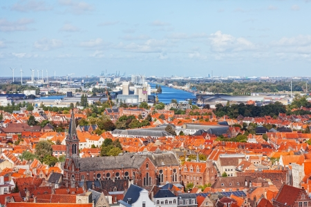top view to Bruges, Belgium photo