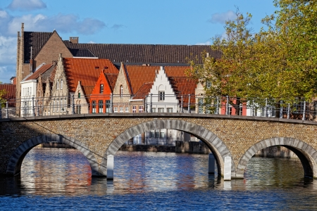 Classical view of the medieval city of Bruges, Belgium photo