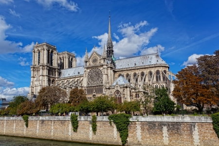 Cathedral of Notre Dame de Paris sunny autumn afternoon  photo