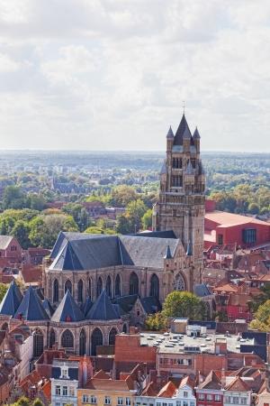 salvator: Top view of the Saint Salvator Cathedral in Bruges, Belgium