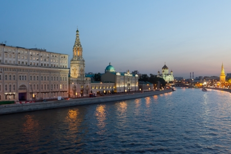 ussia, Moscow, night view of the Moskva River, Bridge and the Kremlin