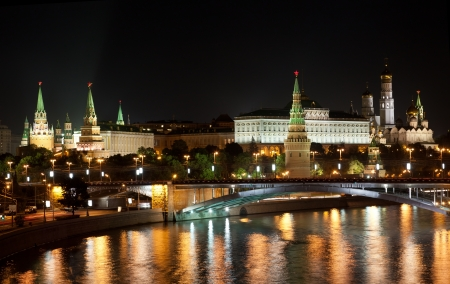 moskva river: Russia, Moscow, night view of the Moskva River, Bridge and the Kremlin