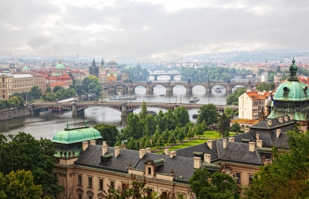 Prague, view of the Vltava River and bridges in a morning fog  photo