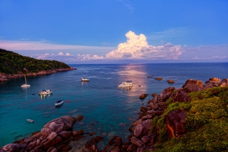 Sunrise over the Andaman Sea. Similans island, Thailand photo