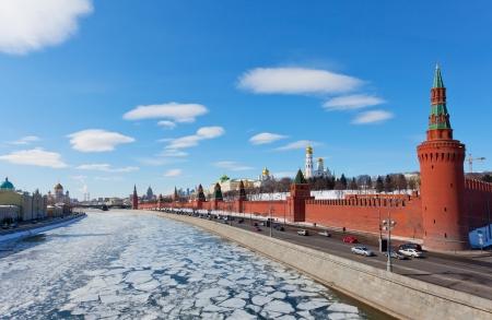 moskva river: Moscow Kremlin in sunny spring day Stock Photo