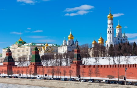Beautiful view of the Moscow Kremlin in sunny spring day photo