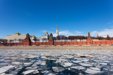 moskva river: Moscow Kremlin and Moskva River in the sunny spring afternoon. Stock Photo