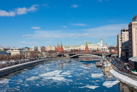 Kremlin and Berezhkovskaya Embankment in Moscow in sunny spring day photo