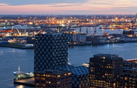 View of Rotterdam from height of bird's flight at night Stock Photo - 19298271