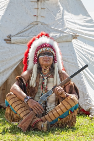 north american: North American Indian in full dress. Reconstruction