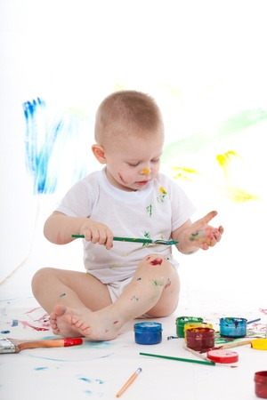 bedaubed: Boy bedaubed with bright colors Stock Photo