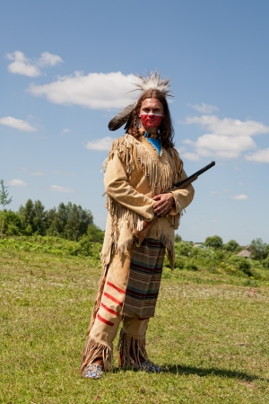 North American Indian in full dress  Reconstruction photo