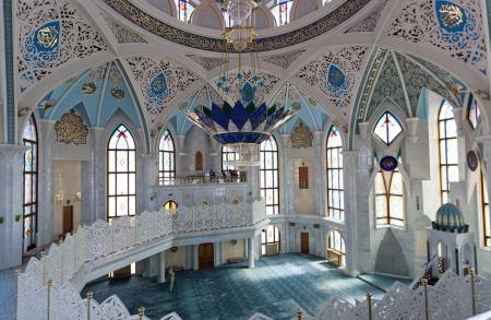 kazan: RUSSIA, KAZAN-MAY 21: Interior Qol Sharif mosque in Kazan, Russia, May 21, 2013. Qol Sharif - the main mosque of the Republic of Tatarstan and Kazan is located on the territory of the Kazan Kremlin.