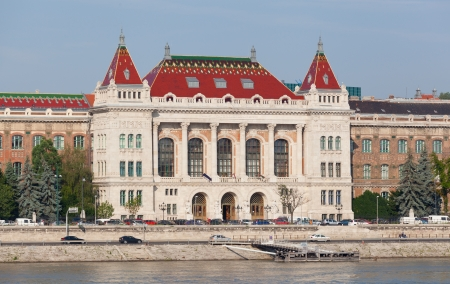 settles: BUDAPEST, HUNGARY - JUNE 8:View of swimming baths Gelert , on June 8, 2012 in Budapest, Hungary. The bathing complex settles down in the beautiful building built in style secession in 1918.