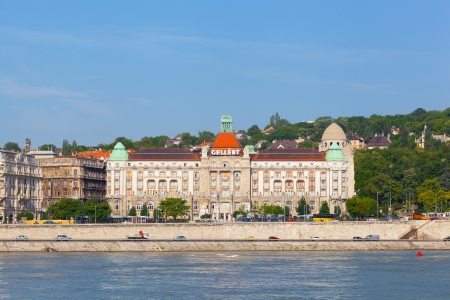settles: BUDAPEST, HUNGARY - JUNE 8 View of swimming baths Gelert , on June 8, 2012 in Budapest, Hungary  The bathing complex settles down in the beautiful building built in style secession in 1918