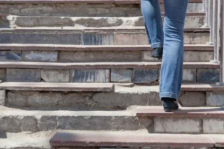 stair: woman rises up on the destroyed steps