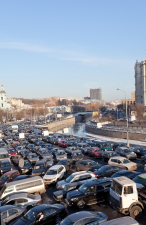 arise: MOSCOW,RUSSIA - FEBRUARY 8: Big transport stopper, 08.02.2012, Moscow, Russia. Road jams arise because of a large number of transport which exceeds the maximum capacity of roads in the city