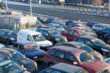 arise: MOSCOW,RUSSIA - - FEBRUARY 8: Big transport stopper, 08.02.2012, Moscow, Russia. Road jams arise because of a large number of transport which exceeds the maximum capacity of roads in the city