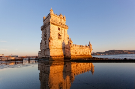 castle tower: Belem Tower on a sunset, Lisbon, Portugal