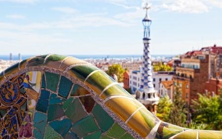 barcelone: Vues du Parc Guell d'Antoni Gaudi, Barcelone, Espagne.