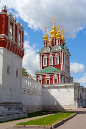 convent: Tower of the Novodevichy Convent in Moscow on a background of blue sky