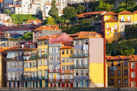 porto: Multi-colored old houses around Ribeyr, Porto, Portugal Stock Photo