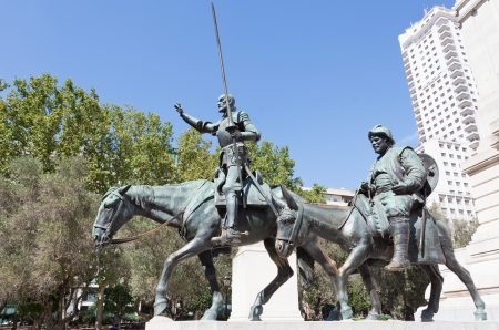 Madrid. Monument to Cervantes, Don Quixote and Sancho Panza. Spain  photo