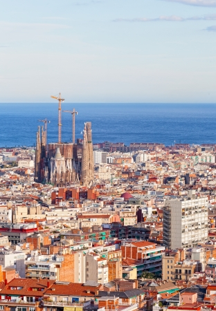 tibidabo: View of Barcelona from park Guel, Spain