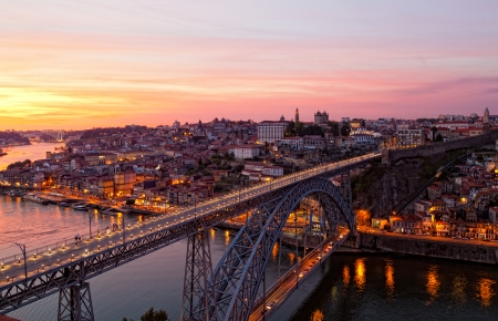 ribeira: Bridge of Luis I at night over Douro river and Porto, Portugal