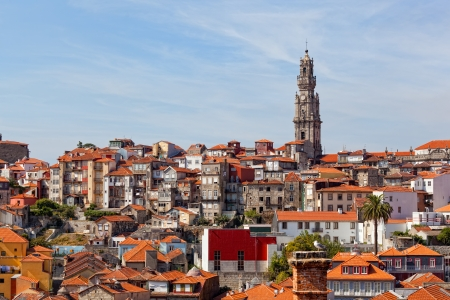 ribeira: View of the city of Porto: houses around Riber and church Klerigush (Igreja dos Clerigos) Stock Photo