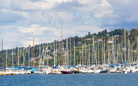 Yachts in a marine on Lake Geneva