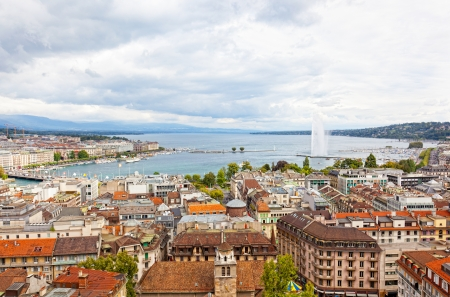 Panoramic view of city of Geneva, the Leman Lake and the Water Jet, in Switzerland, Europe, aerial view