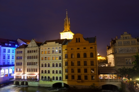 PRAGUE,CZECH REPUBLIC - JUNE 11:Historical center at night, June 11, 2012 Prague, Czech Republic. In 2011 Prague was visited by 3,8 million tourists.