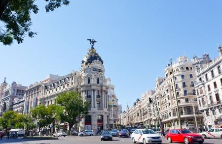 xx century: MADRID, SPAIN-SEPTEMBER 24: Metropolis building situated on representative Gran Via street on September 24, 2013 in Madrid, Spain. It was built in the twenties of XX century.  Editorial