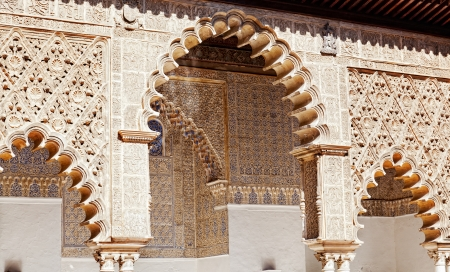 mudejar: Mudejar decorations in the Patio de las Doncellas from Peter the first Palace in the Royal Alcazars of Seville, Spain