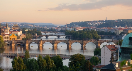 Prague, view of the Vltava River and bridges in the summer evening photo