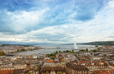 Panoramic view of city of Geneva, the Leman Lake and the Water Jet, in Switzerland, Europe, aerial view photo