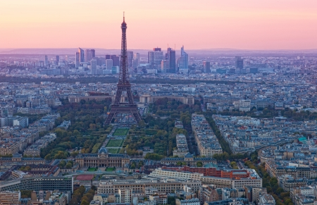 View of the Eiffel Tower on a sunset, Paris photo